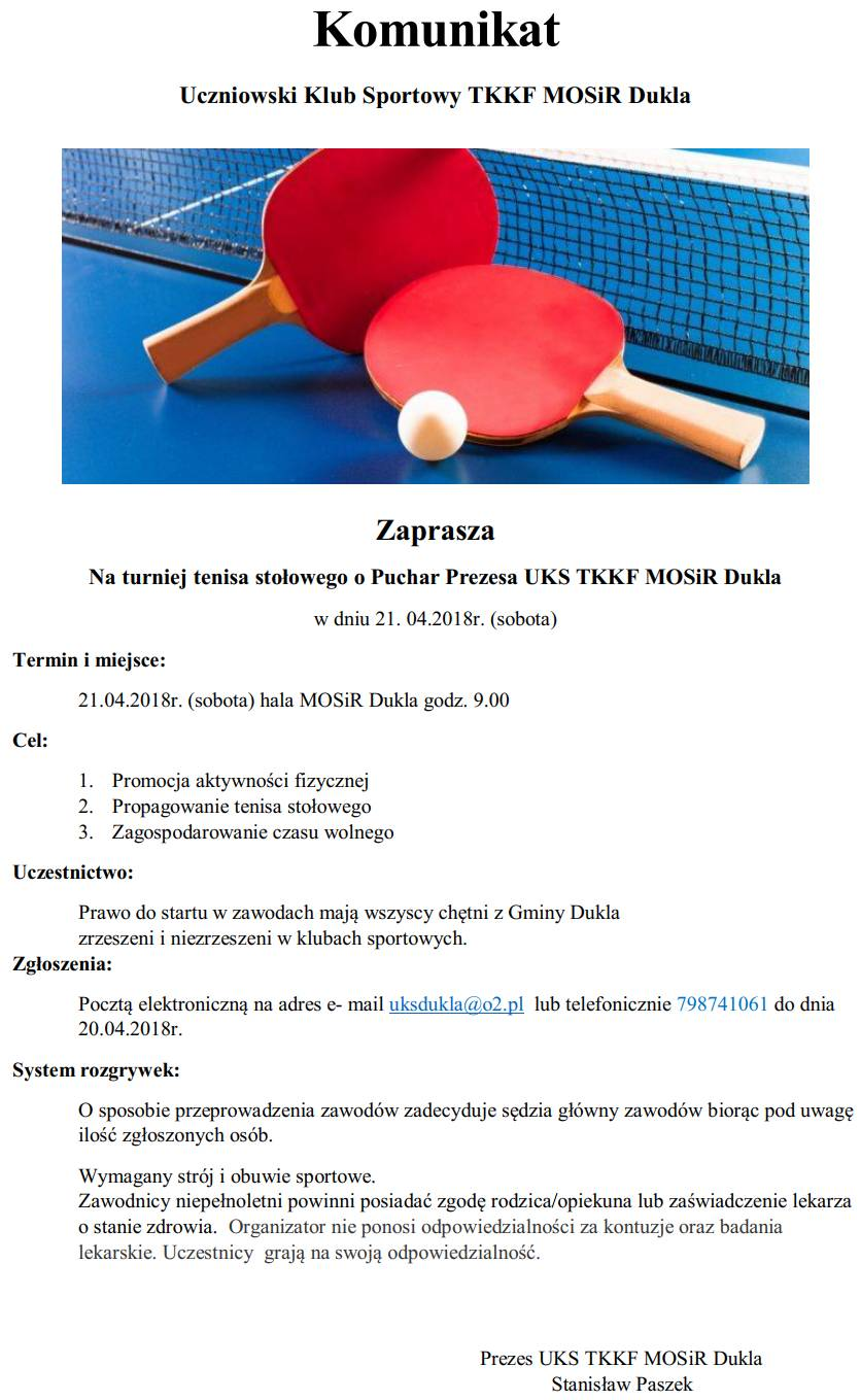 26f08c76 Turniej tenisa stołowego o Puchar Prezesa UKS TKKF MOSiR Dukla